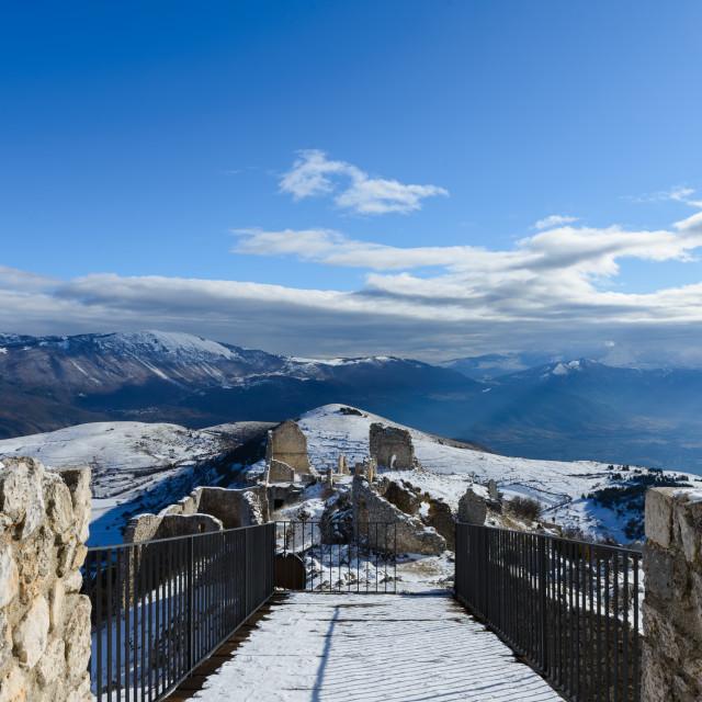 """Snowy mountain landscape seen from Rocca Calascio"" stock image"