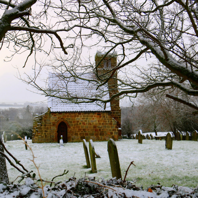 """Upleatham Church in the snow."" stock image"