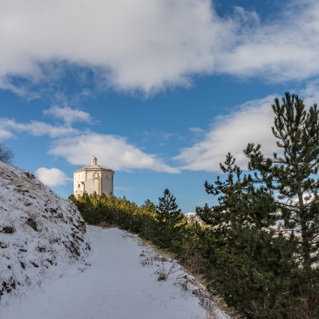 """Snowy path leading to the mountain church of Santa Maria della P"" stock image"