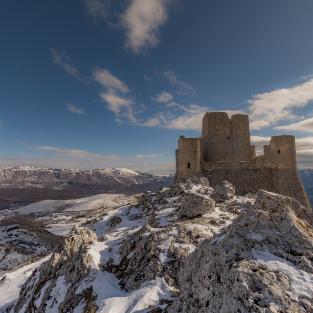 """""""Winter panoramic view with ancient castle"""" stock image"""