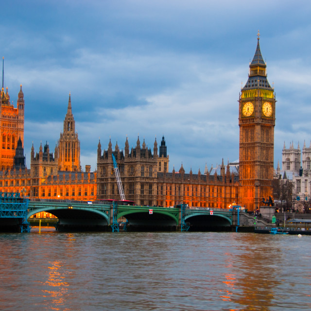 """Thames river,London Bride and Big Ben -- evening"" stock image"