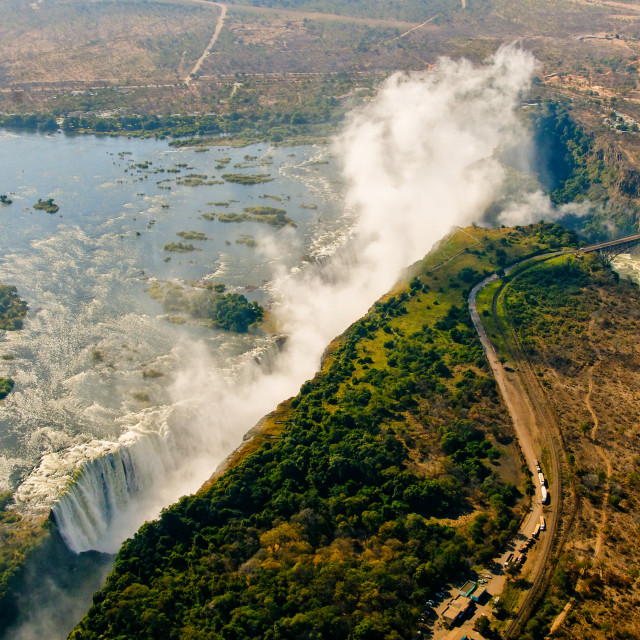 """Victoria Falls from the air"" stock image"