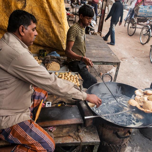 """Frying Puri (also spelled Poori) in Varanasi"" stock image"