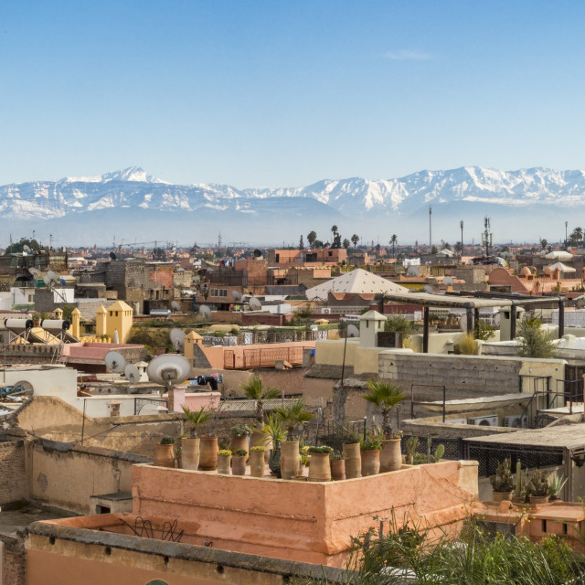 """""""Panoramic view of Marrakesh with Atlas mountains in background, Marrakesh, Morocco."""" stock image"""