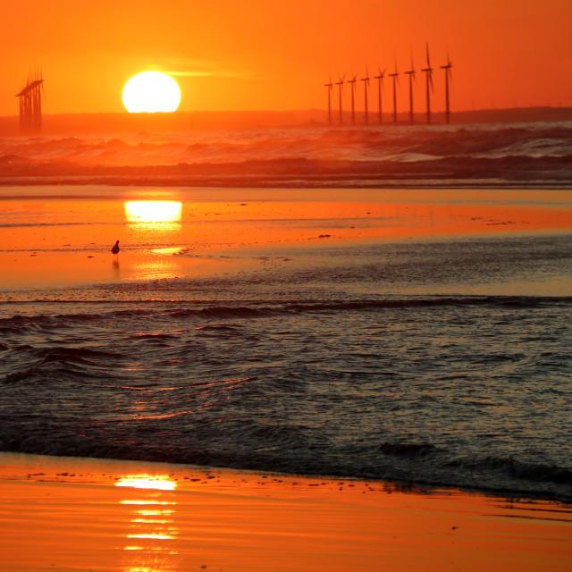 """Sunset over Teeside"" stock image"