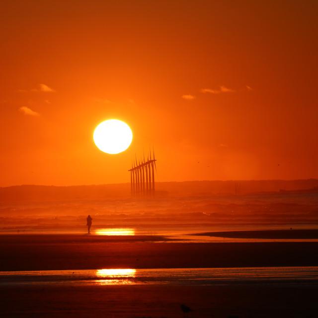 """Sunset over Teesside"" stock image"