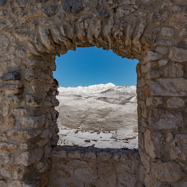 """""""View from an opening of the walls of Rocca Calascio"""" stock image"""
