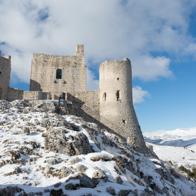 """""""Ancient fortification in the snowy mountains of Abruzzo, Italy"""" stock image"""