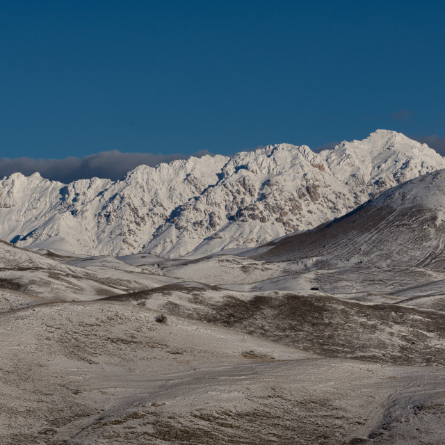 """""""Winter view of the snowy mountains of the Gran Sasso"""" stock image"""
