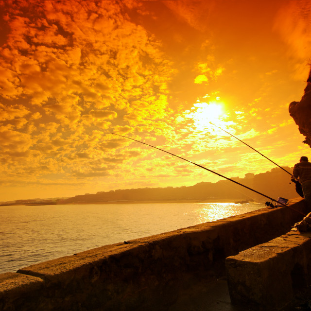 """""""The Fisher Man in basque coast"""" stock image"""