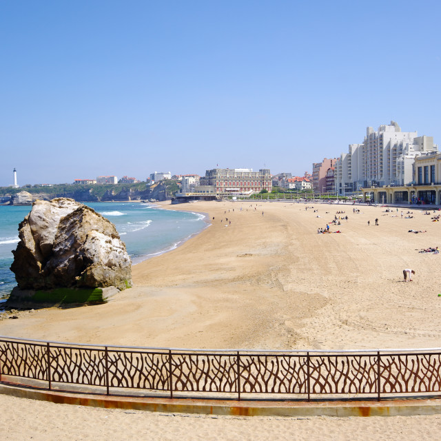 """Grande plage beach in Biarritz"" stock image"