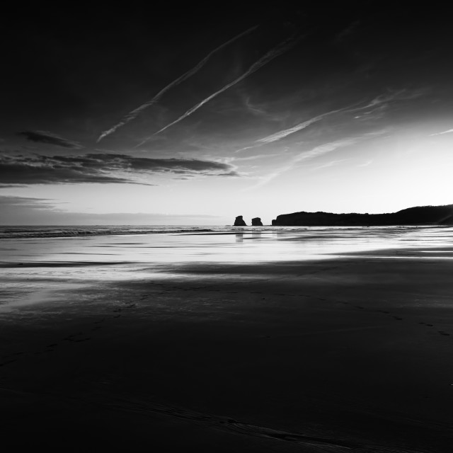 """Black and white beach"" stock image"