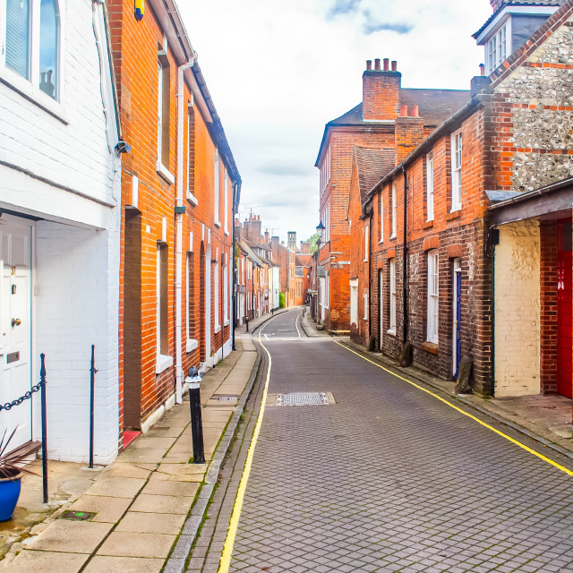 """A Narrow Lane in Winchester City"" stock image"