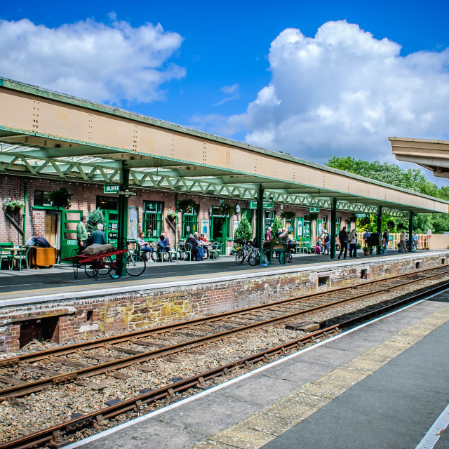 """Okehampton rail station, Devon, England. July 1 2012. Station platform"" stock image"