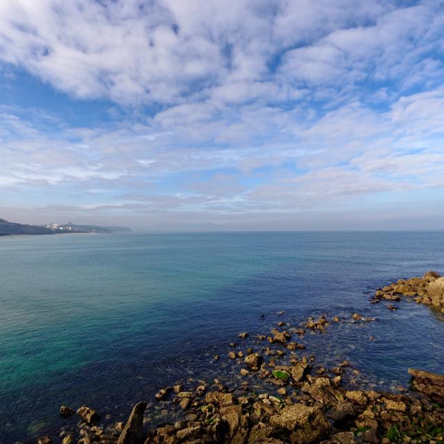 """rocky coast of Biarritz"" stock image"