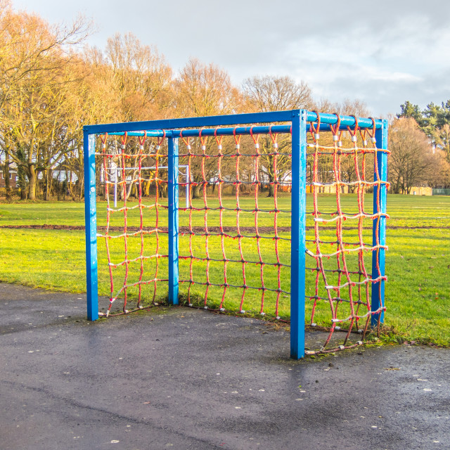 """""""A small blue goal in a park with red netting"""" stock image"""