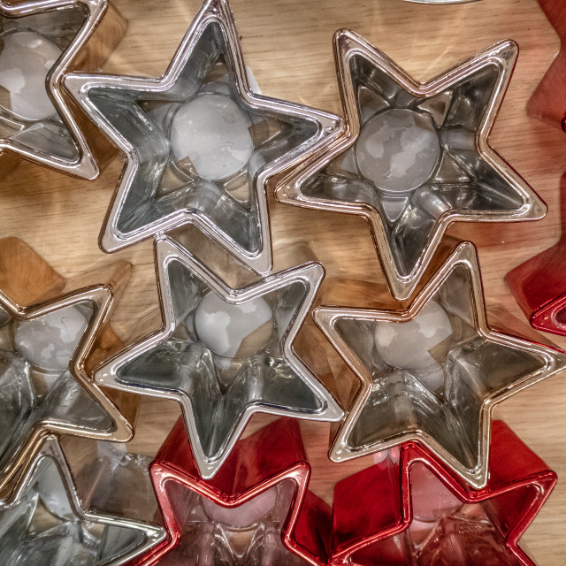 """""""Set of star shaped Christmas candle holders"""" stock image"""