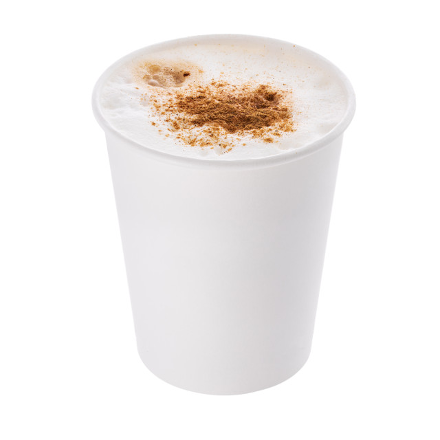 """""""Coffee with milk or cappuccino with cinnamon in a plastic cup ta"""" stock image"""