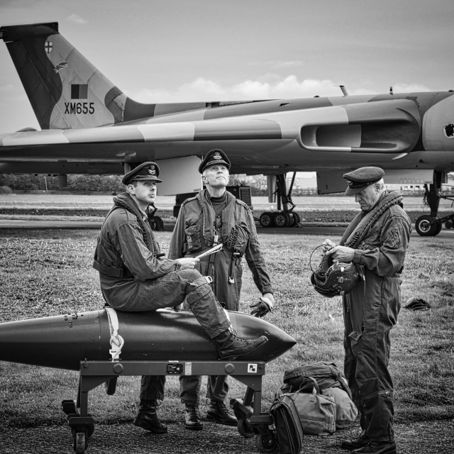 """""""Avro Vulcan XM655 with Aircrew"""" stock image"""