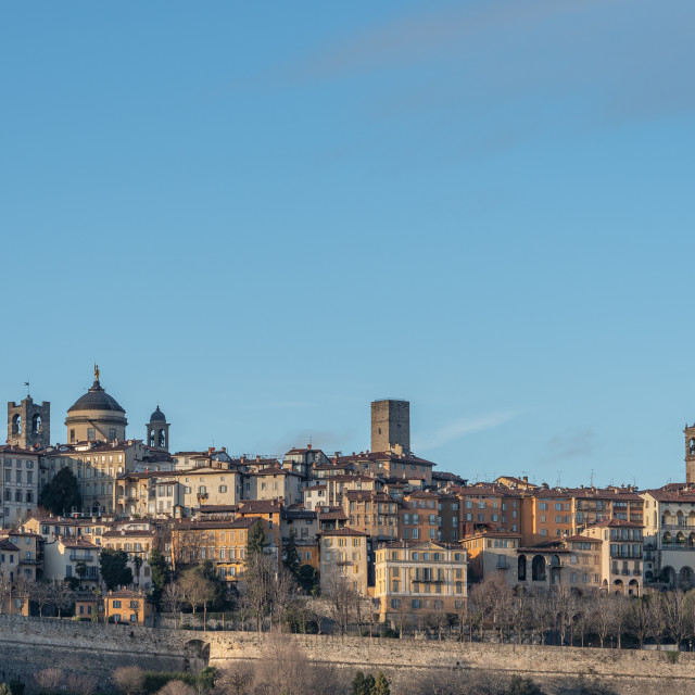 """Bergamo Alta skyline with historic buildings"" stock image"