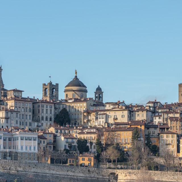 """General view of some historic buildings in Bergamo Alta"" stock image"