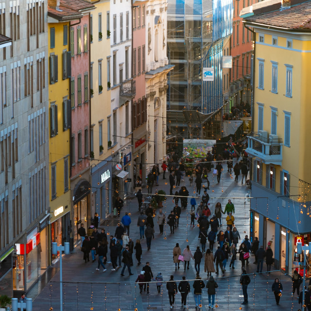 """""""View from the top of via XX Settembre a Bergamo"""" stock image"""