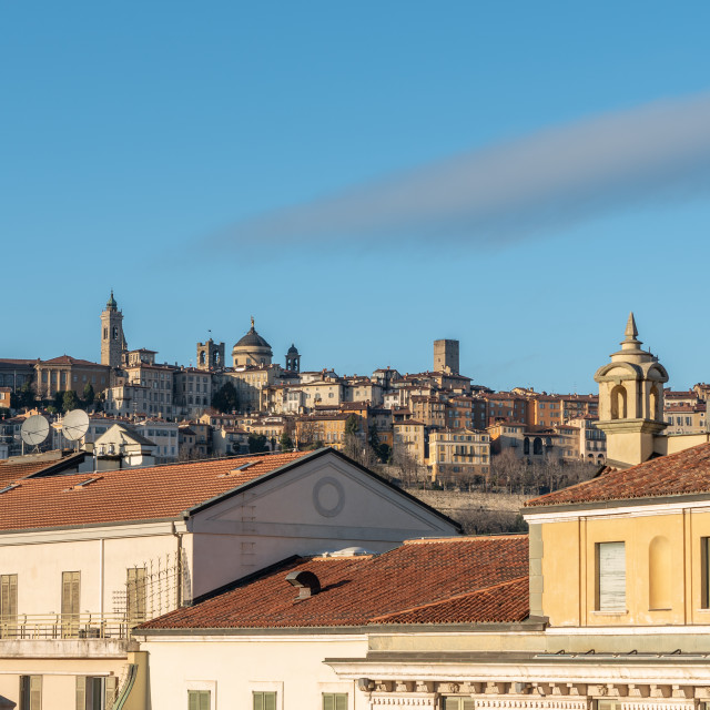 """""""View of Bergamo Alta and the roofs of the lower city"""" stock image"""