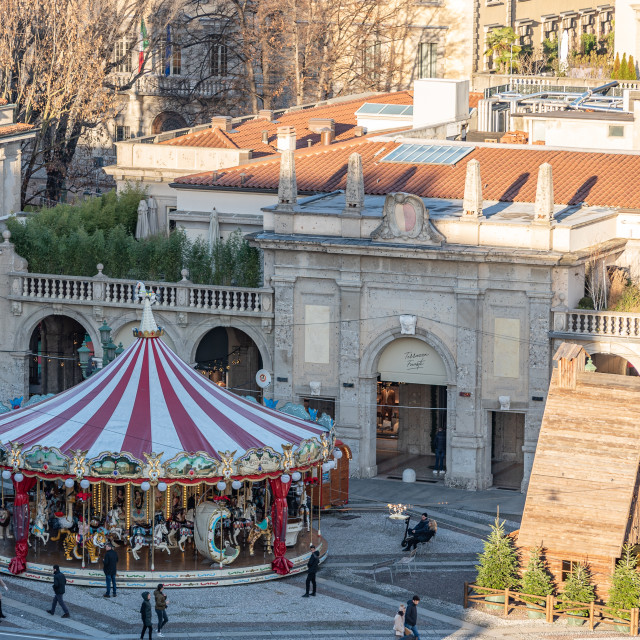 """""""Top view of a carousel in Bergamo"""" stock image"""
