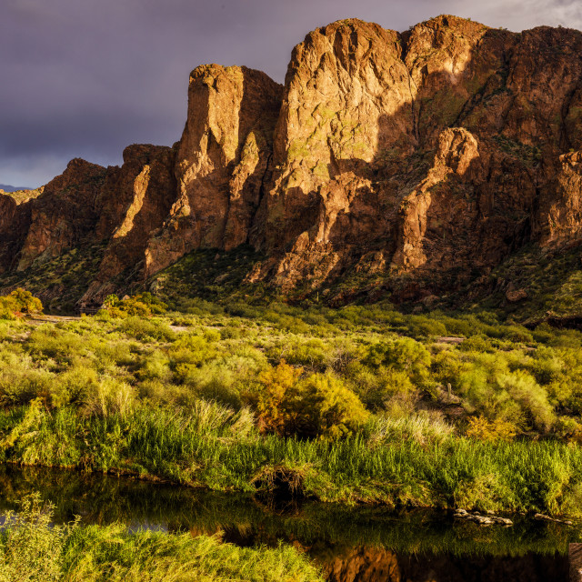 """""""Late Afternoon Sun and Desert Mountain Cliffs"""" stock image"""