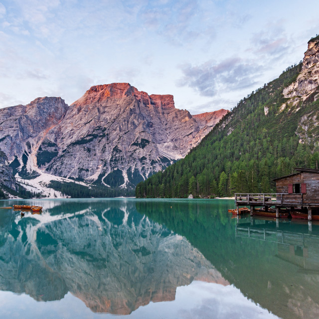 """""""Panorama of Lake Braies with the Dolomites"""" stock image"""