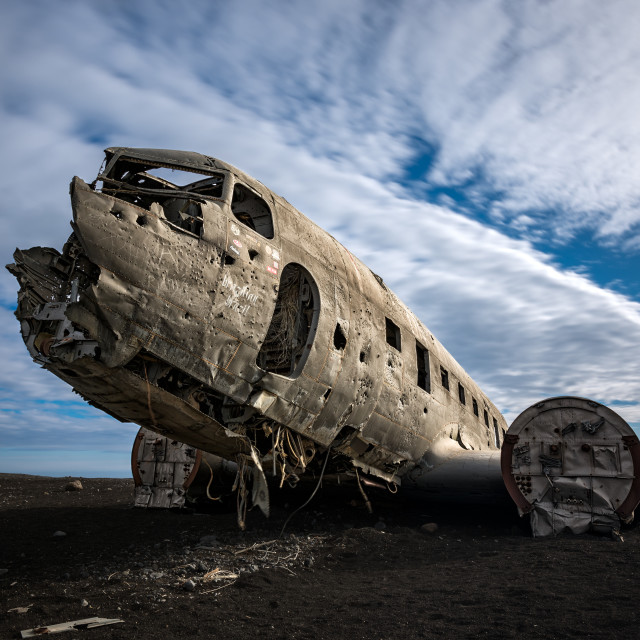 """Super DC-3 Plane Wreck in Southern Iceland"" stock image"