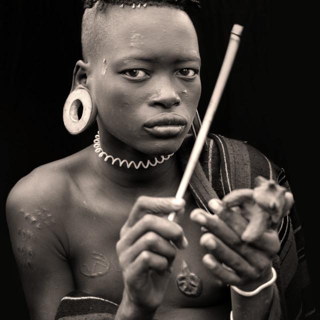 """mursi tribe portraits"" stock image"