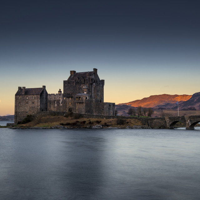 """Moonset at Eilean Donan Castle"" stock image"