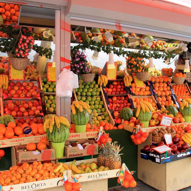 """""""Cologne fruit & veg stall"""" stock image"""