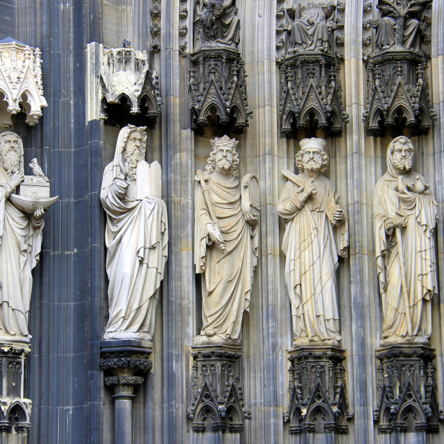 """""""Restored statues, Cologne Cathedral"""" stock image"""