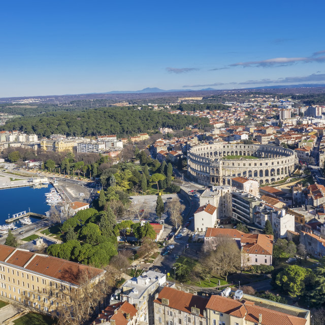 """""""An aerial view of amphitheatre in Pula, Istria, Croatia"""" stock image"""