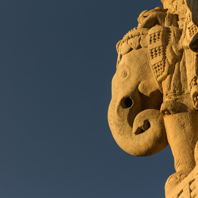 """Elephant on the North Gateway. Buddhist Monuments at Sanchi."" stock image"