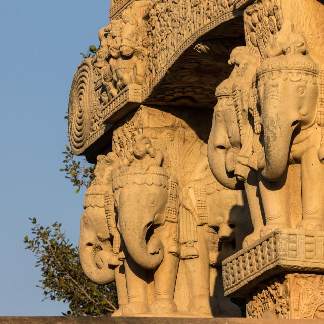 """Elephants on the North Gateway. Buddhist Monuments at Sanchi."" stock image"