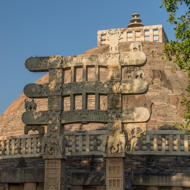 """East Gateway to Great Stupa. Buddhist Monuments at Sanchi. MP, I"" stock image"