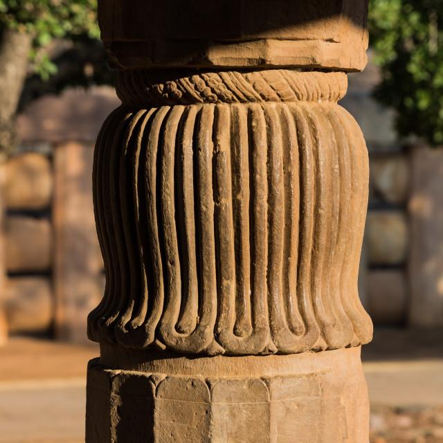 """Pillar of Temple 17. Buddhist Monuments at Sanchi. India"" stock image"