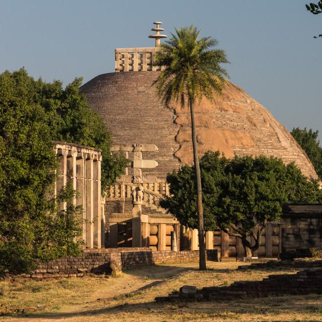 """Great Stupa at Sanchi. Madhya Pradesh, India."" stock image"