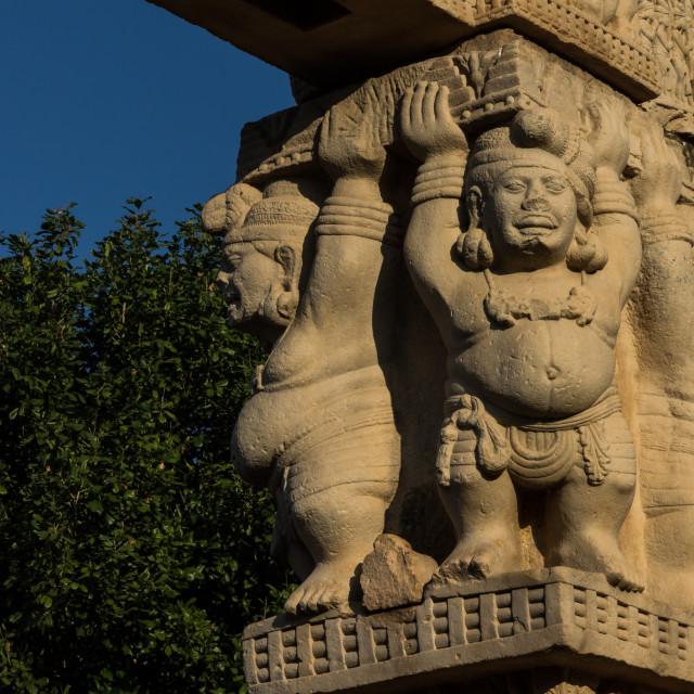 """Four Yakshas. Great Stupa at Sanchi. Madhya Pradesh."" stock image"