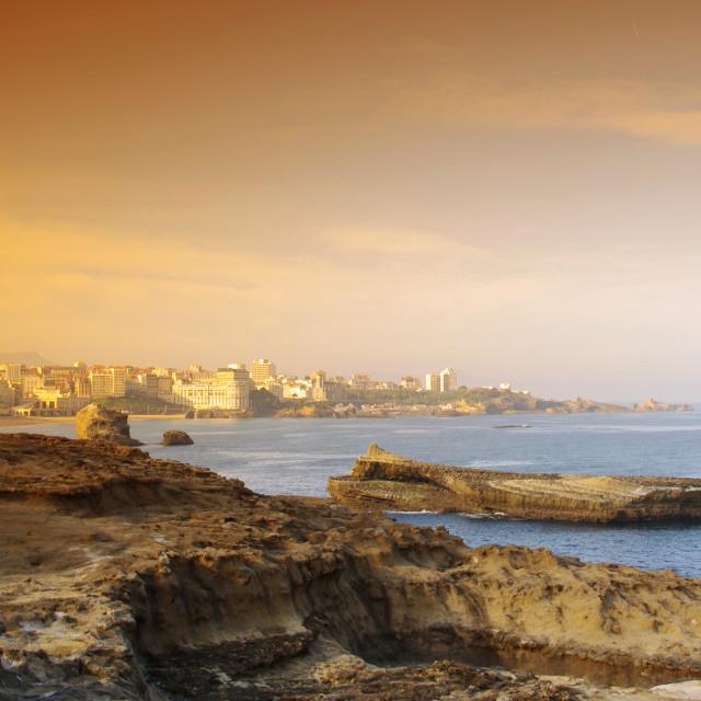 """Biarritz rocky coast"" stock image"