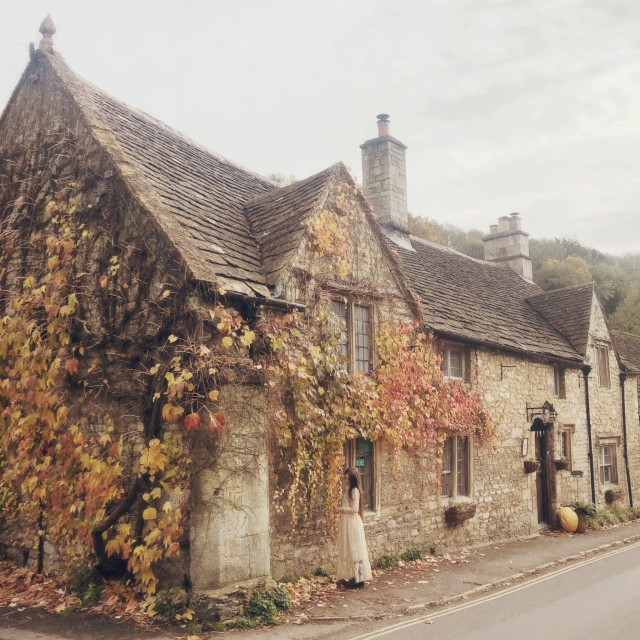 """""""Autumn at castle Combe"""" stock image"""