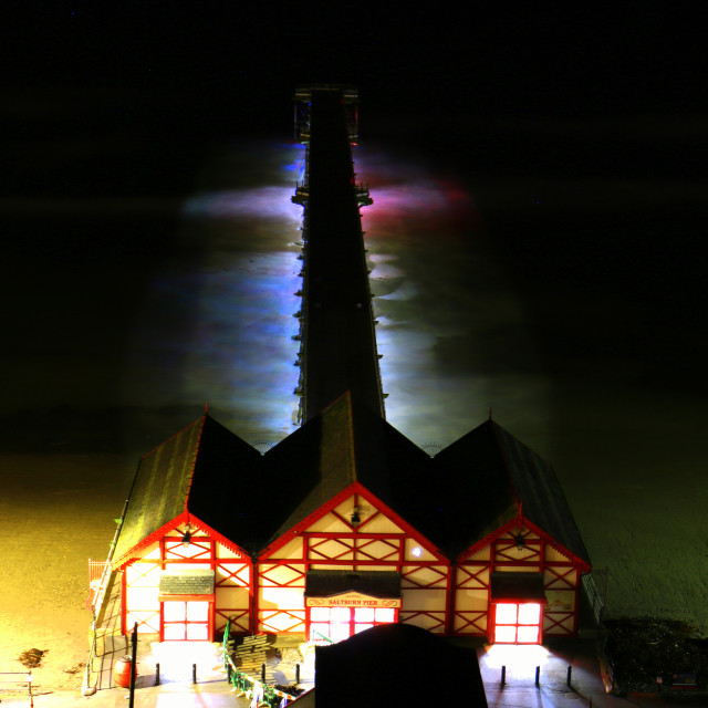 """Saltburn pier at night."" stock image"