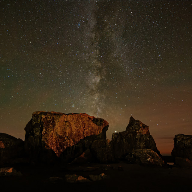 """""""The Night Sky at a Northern California Beach"""" stock image"""