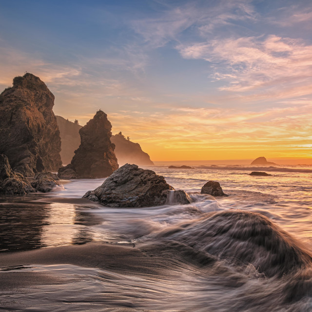 """Colorful Sunset Seascape at a Northern California Beach"" stock image"