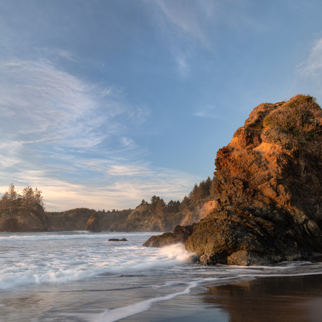 """""""Colorful Sunset Seascape at a Northern California Beach"""" stock image"""