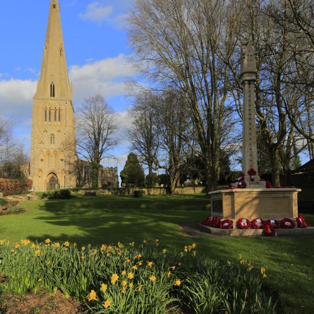 """St Peters parish church, Raunds village, Northamptonshire, England, UK"" stock image"