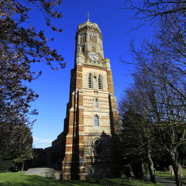 """St Peters church, Irthlingborough Town, Northamptonshire, England, UK"" stock image"